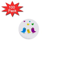 Bird Family 1  Mini Buttons (100 Pack)  by Valentinaart
