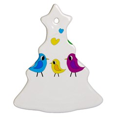 Bird family Christmas Tree Ornament (2 Sides) by Valentinaart