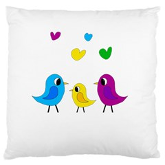 Bird Family Large Cushion Case (two Sides) by Valentinaart