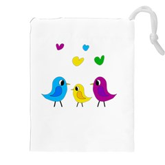 Bird Family Drawstring Pouches (xxl) by Valentinaart