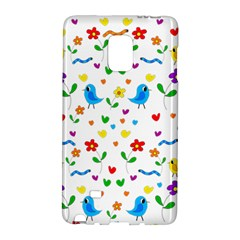 Cute Birds And Flowers Pattern Galaxy Note Edge by Valentinaart