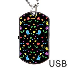 Cute Birds And Flowers Pattern   Black Dog Tag Usb Flash (one Side) by Valentinaart