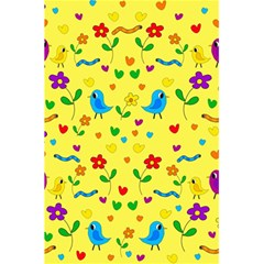 Yellow Cute Birds And Flowers Pattern 5 5  X 8 5  Notebooks by Valentinaart