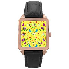 Yellow Cute Birds And Flowers Pattern Rose Gold Leather Watch  by Valentinaart