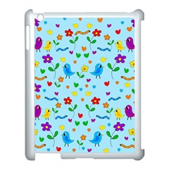 Blue Cute Birds And Flowers  Apple Ipad 3/4 Case (white) by Valentinaart