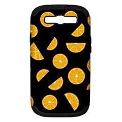 Oranges Pattern   Black Samsung Galaxy S Iii Hardshell Case (pc+silicone) by Valentinaart