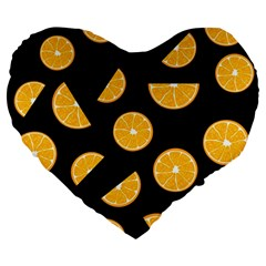 Oranges Pattern   Black Large 19  Premium Heart Shape Cushions by Valentinaart
