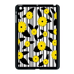 Yellow Floral Pattern Apple Ipad Mini Case (black) by Valentinaart