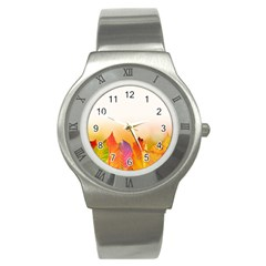 Autumn Leaves Colorful Fall Foliage Stainless Steel Watch by Amaryn4rt