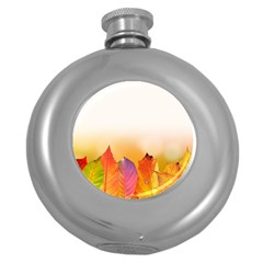 Autumn Leaves Colorful Fall Foliage Round Hip Flask (5 Oz) by Amaryn4rt