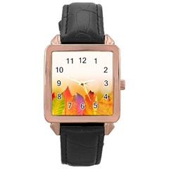 Autumn Leaves Colorful Fall Foliage Rose Gold Leather Watch  by Amaryn4rt
