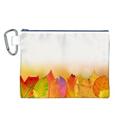 Autumn Leaves Colorful Fall Foliage Canvas Cosmetic Bag (l) by Amaryn4rt