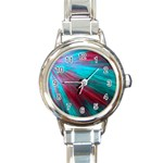 Background Texture Pattern Design Round Italian Charm Watch