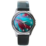 Background Texture Pattern Design Round Metal Watch