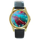 Background Texture Pattern Design Round Gold Metal Watch
