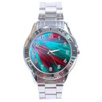 Background Texture Pattern Design Stainless Steel Analogue Watch