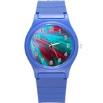 Background Texture Pattern Design Round Plastic Sport Watch (S)