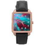 Background Texture Pattern Design Rose Gold Leather Watch