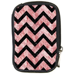 Chevron9 Black Marble & Red & White Marble (r) Compact Camera Leather Case