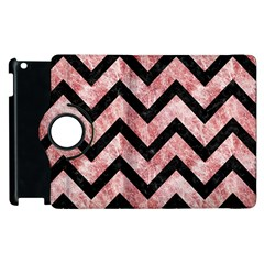 Chevron9 Black Marble & Red & White Marble (r) Apple Ipad 3/4 Flip 360 Case by trendistuff
