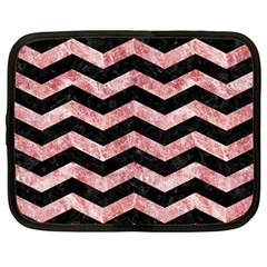 Chevron3 Black Marble & Red & White Marble Netbook Case (large) by trendistuff