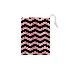 Chevron3 Black Marble & Red & White Marble Drawstring Pouch (xs) by trendistuff