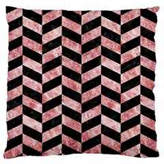 Chevron1 Black Marble & Red & White Marble Large Flano Cushion Case (two Sides) by trendistuff
