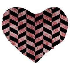 Chevron1 Black Marble & Red & White Marble Large 19  Premium Flano Heart Shape Cushion by trendistuff