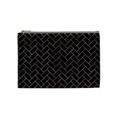 Brick2 Black Marble & Red & White Marble Cosmetic Bag (medium) by trendistuff
