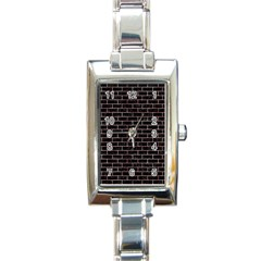 Brick1 Black Marble & Red & White Marble Rectangle Italian Charm Watch by trendistuff