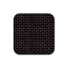 Brick1 Black Marble & Red & White Marble Rubber Square Coaster (4 Pack) by trendistuff
