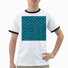 Woven2 Black Marble & Turquoise Marble (r) Ringer T by trendistuff