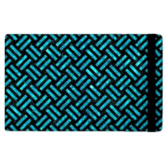 Woven2 Black Marble & Turquoise Marble Apple Ipad 3/4 Flip Case by trendistuff