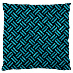 Woven2 Black Marble & Turquoise Marble Standard Flano Cushion Case (two Sides) by trendistuff