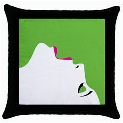 Image Of A Woman s Face Green White Throw Pillow Case (black) by Jojostore