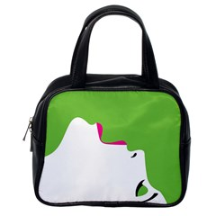 Image Of A Woman s Face Green White Classic Handbags (one Side) by Jojostore