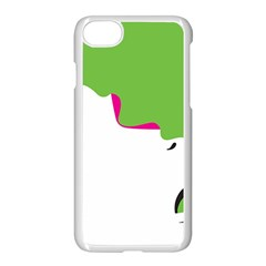 Image Of A Woman s Face Green White Apple iPhone 7 Seamless Case (White) by Jojostore