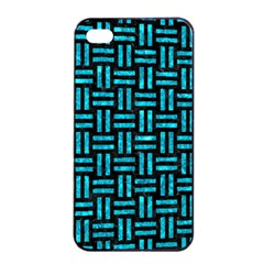 Woven1 Black Marble & Turquoise Marble Apple Iphone 4/4s Seamless Case (black) by trendistuff