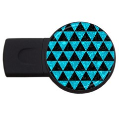 Triangle3 Black Marble & Turquoise Marble Usb Flash Drive Round (2 Gb) by trendistuff