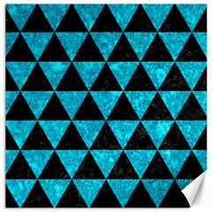 Triangle3 Black Marble & Turquoise Marble Canvas 20  X 20  by trendistuff