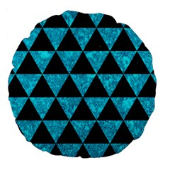 Triangle3 Black Marble & Turquoise Marble Large 18  Premium Round Cushion  by trendistuff
