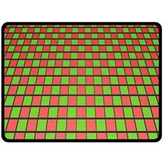 Green Red Box Fleece Blanket (large)  by Jojostore
