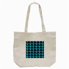 Triangle2 Black Marble & Turquoise Marble Tote Bag (cream) by trendistuff