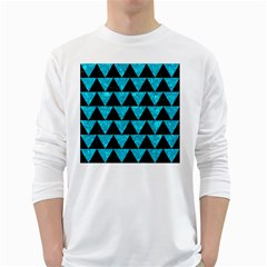 Triangle2 Black Marble & Turquoise Marble Long Sleeve T Shirt by trendistuff