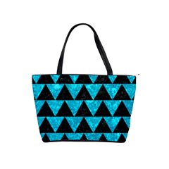Triangle2 Black Marble & Turquoise Marble Classic Shoulder Handbag by trendistuff