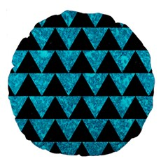 Triangle2 Black Marble & Turquoise Marble Large 18  Premium Round Cushion  by trendistuff