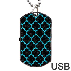 Tile1 Black Marble & Turquoise Marble Dog Tag Usb Flash (two Sides) by trendistuff