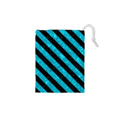 Stripes3 Black Marble & Turquoise Marble (r) Drawstring Pouch (xs) by trendistuff