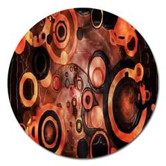 Orange Black Abstract Artwork Magnet 5  (round) by Jojostore