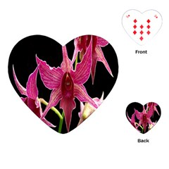 Orchid Flower Branch Pink Exotic Black Playing Cards (heart)  by Jojostore